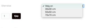 Hvis bildet finnes i flere størrelser, må du først velge hvilken størrelse du ønsker før du kan legge bildet i handlekurven
