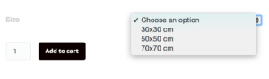 For images with more than one size available, you have to choose size before you'll be able to add it to your cart.